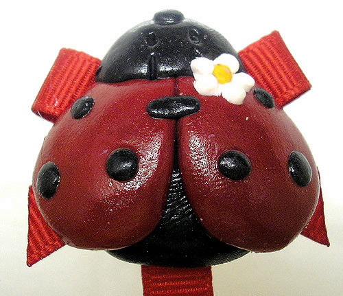 *LADYBUG* pacifier holder, red ribbon