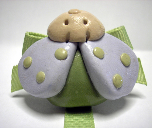 *PASTEL LADYBUG* pacifier holder soft green ribbon