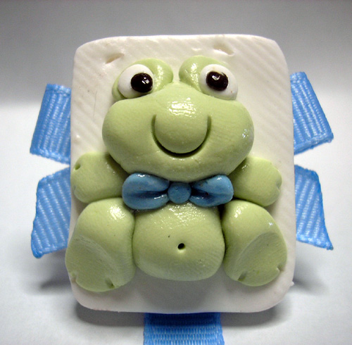 *FROG* pacifier holder ocean blue ribbon