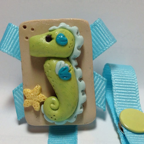 *SEA HORSE* pacifier holder, ocean blue ribbon