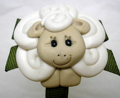 *SHEEP* pacifier holder, peat moss ribbon