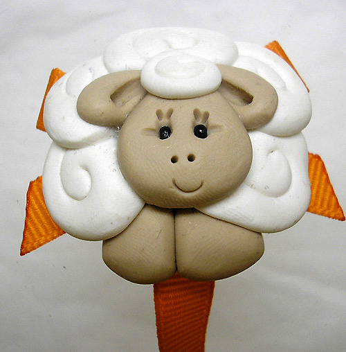 *SHEEP* pacifier holder, orange ribbon