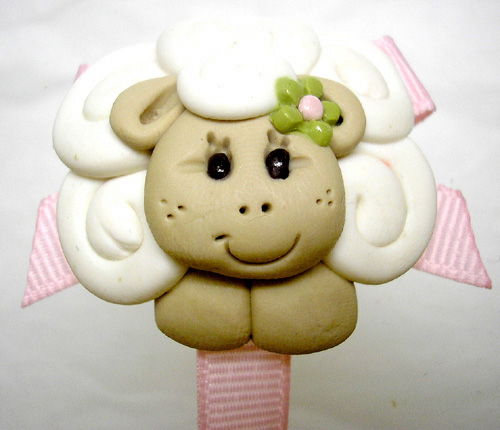 *SHEEP* pacifier holder, pink ribbon