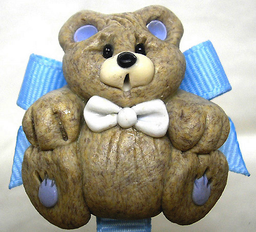 *BEAR* pacifier holder blue ribbon