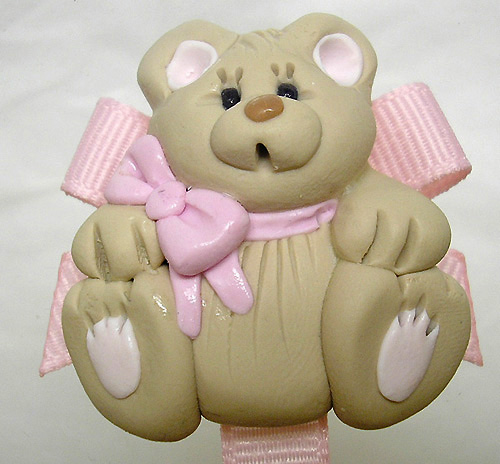 *BEAR* pacifier holder light pink ribbon