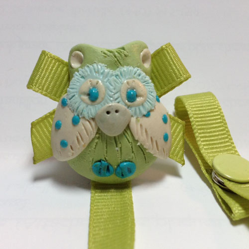 *OWL* pacifier holder, lime green ribbon