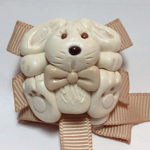 *RABBIT* pacifier holder, TAUPE ribbon