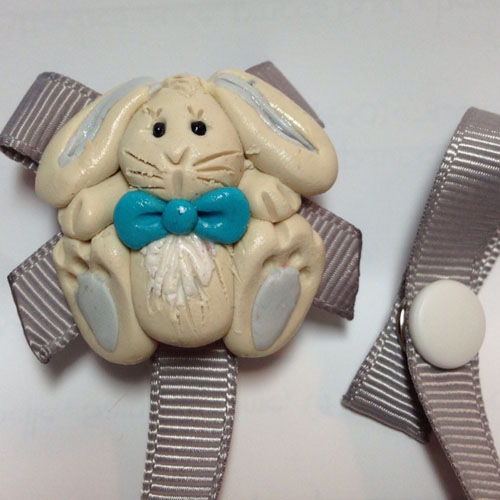 * BUNNY RABBIT* pacifier holder grey ribbon
