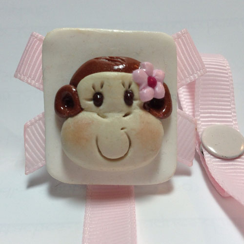 *MONKEY* pacifier holder light pink ribbon-2
