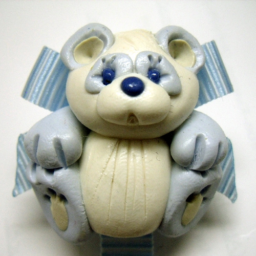 * PANDA BEAR* pacifier holder light blue ribbon