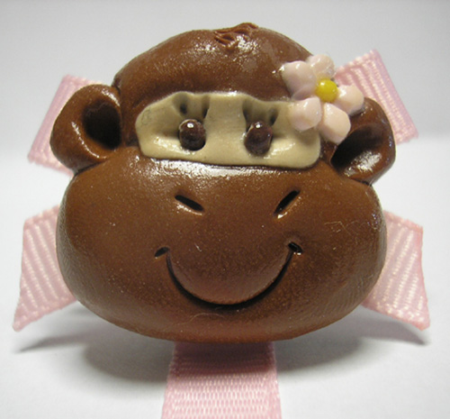 *MONKEY* pacifier holder light pink ribbon