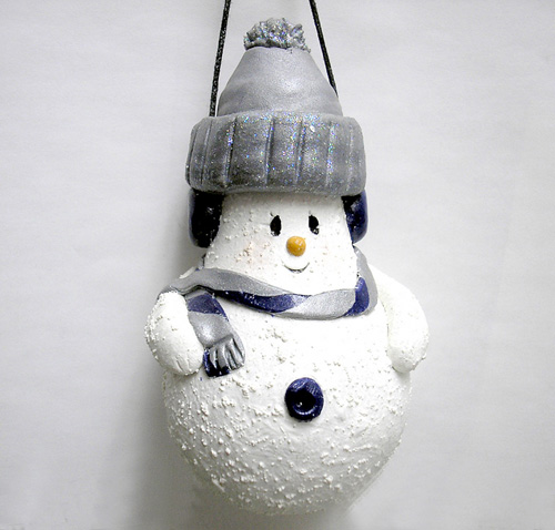*NAVY & GRAY SNOWMAN* Christmas ornament #3