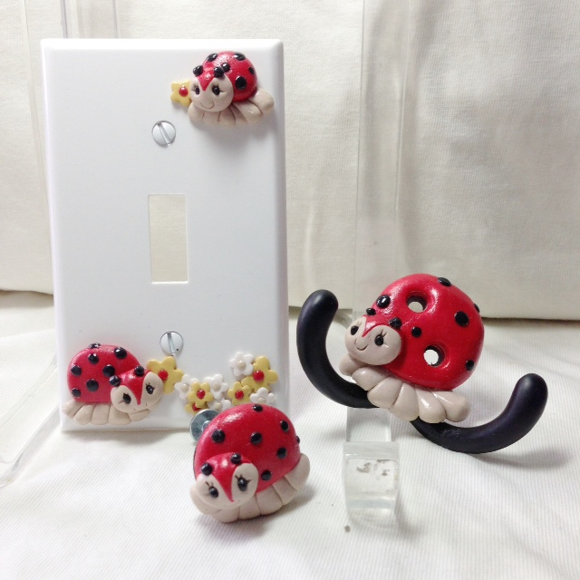 *Red Ladybugs* nursery decor set