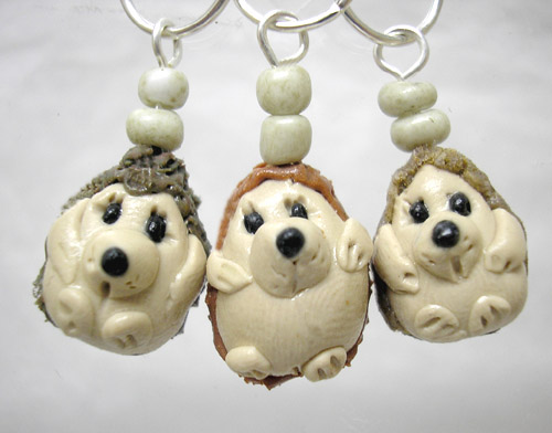 *HEDGEHOGS* stitch markers (set of 3 )