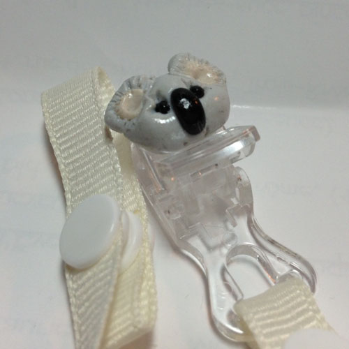*MINI PANDA* pacifier holder beige ribbon