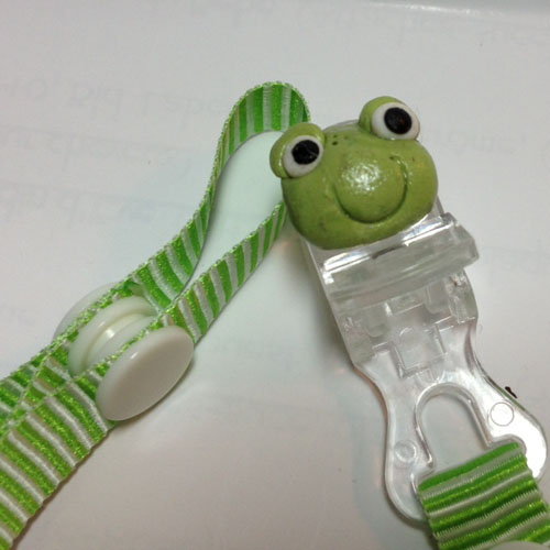*MINI FROG* pacifier holder striped green ribbon