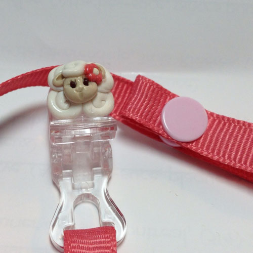 *MINI SHEEP* pacifier holder coral ribbon