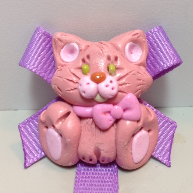 *KITTEN* pacifier holder, Orchid ribbon