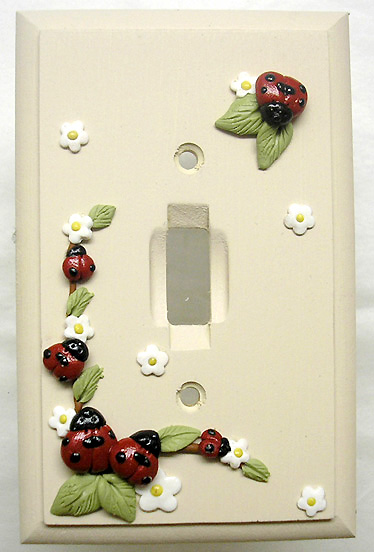 *LADYBUGS* on wood lightswith plate
